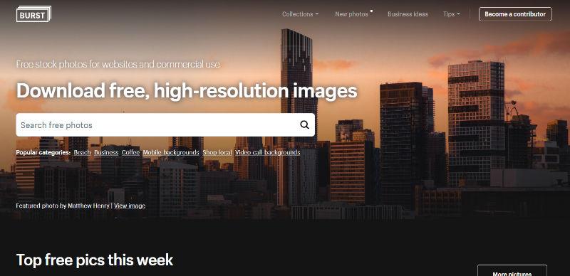 Burst Website Screenshot