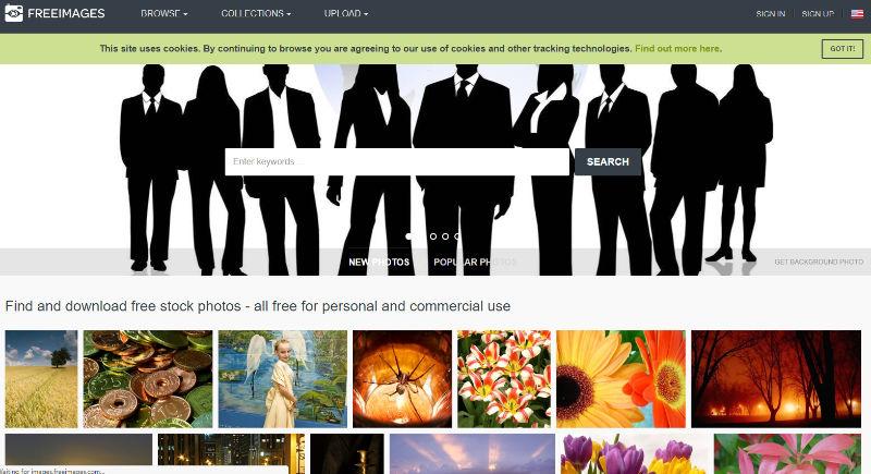 FreeImages Website Screenshot