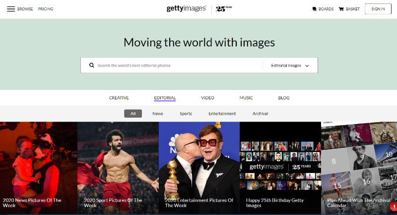 Getty Images Website