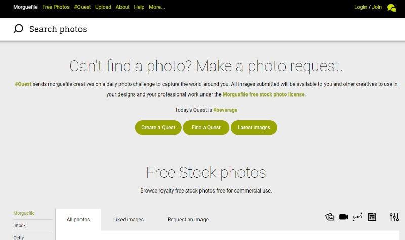 MorgueFile Website Screenshot