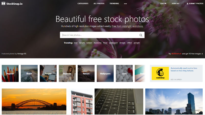 Stocksnap.io Website Screenshot