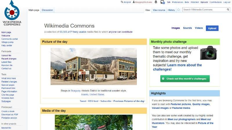 Wikimedia Commons Website Screenshot