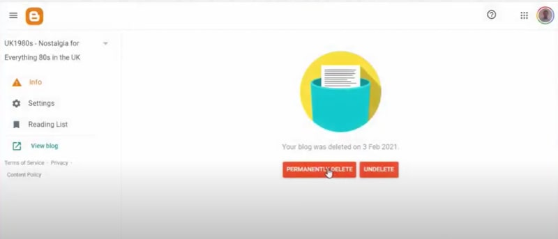 Permanently delete blog from Blogger