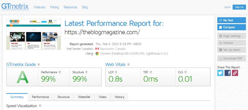 GT Metrix Website Performance Metrics