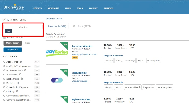 Screenshot of a Health Vitamins Keyword Search
