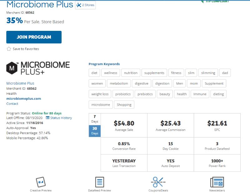Screenshot of the Microbiome Plus Affiliate Program