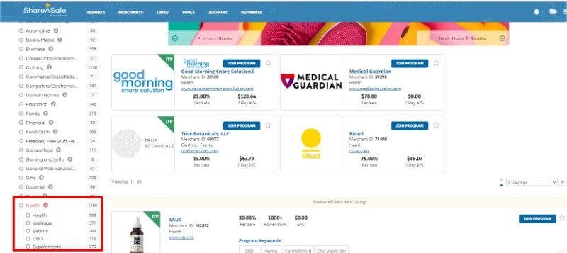 A screenshot showing how to Find Affiliate Programs by Category