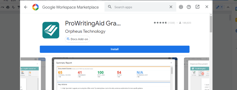 ProWritingAid for Google Docs
